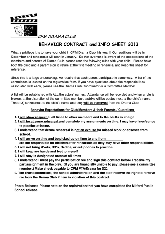 Behavior Contract And Info Sheet Printable pdf