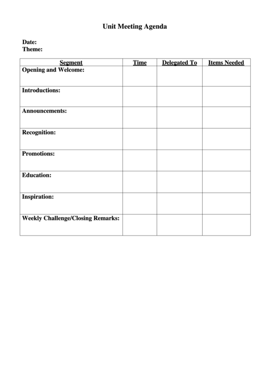unit meeting agenda template printable pdf download