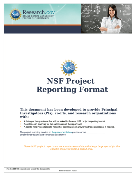 Nsf Project Reporting Format