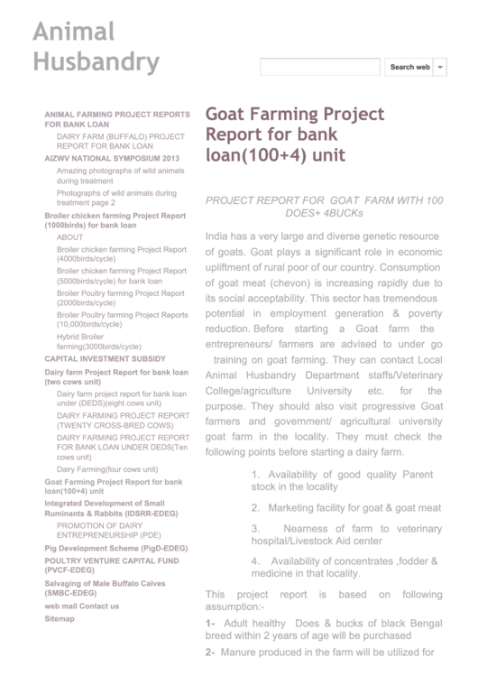 Goat Farming Project Report For Bank Loan printable pdf download