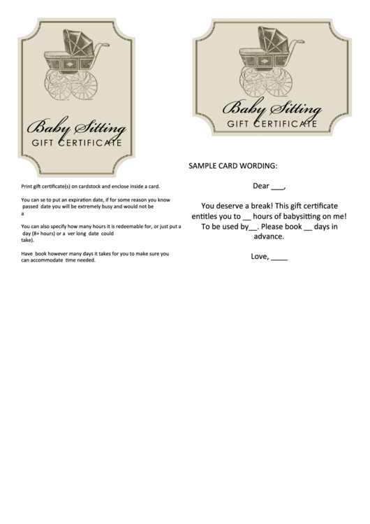 babysitting gift certificate template printable pdf download