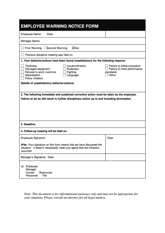 fillable employee warning notice form printable pdf download