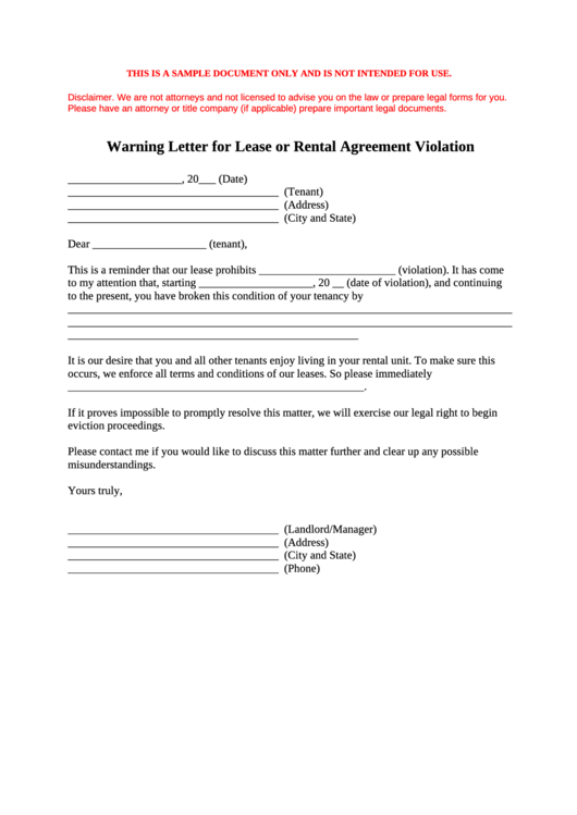 warning letter for lease or rental agreement violation printable pdf