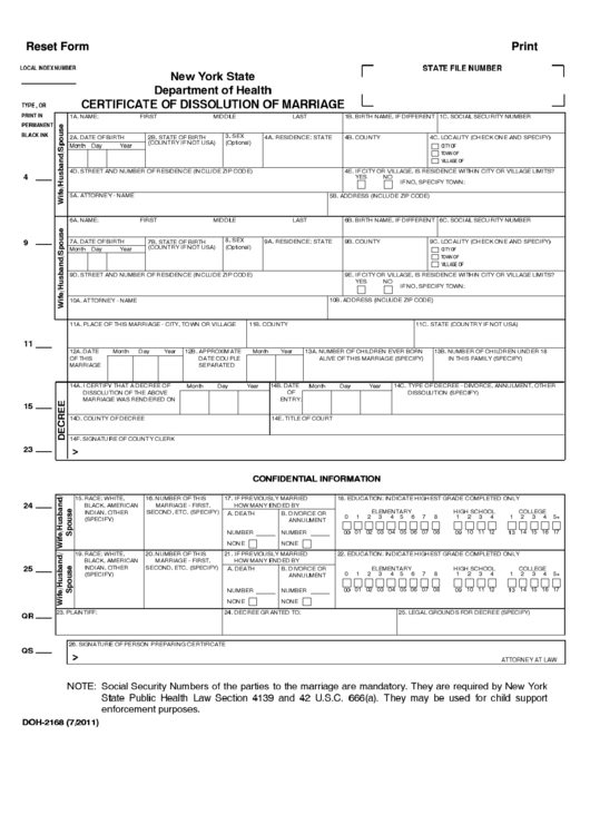 New York State Department Of Health Certificate Of Dissolution Of Marriage