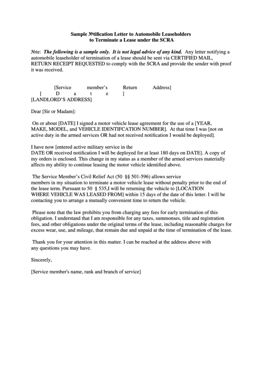 Sample Notification Letter To Automobile Leaseholders To