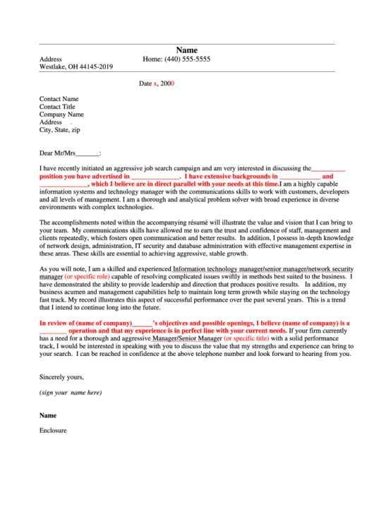 Cover Letter Example Printable pdf