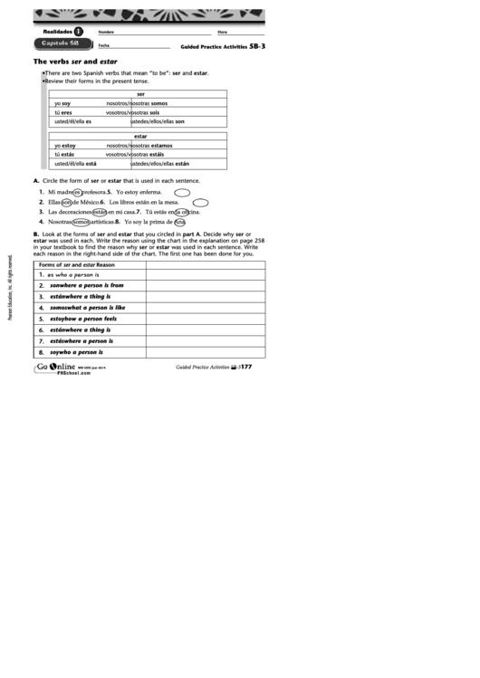 the verbs ser and estar spanish worksheet template printable pdf download. Black Bedroom Furniture Sets. Home Design Ideas