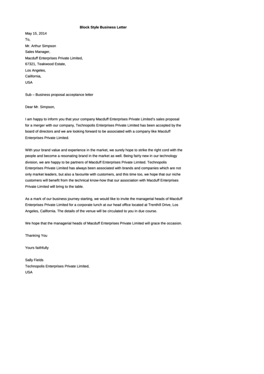 Block Style Business Letter 1