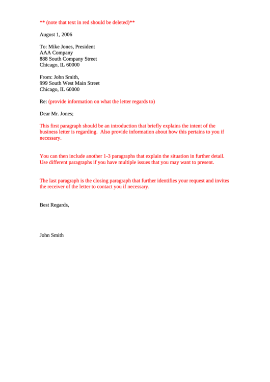 Sample Business Letter 4