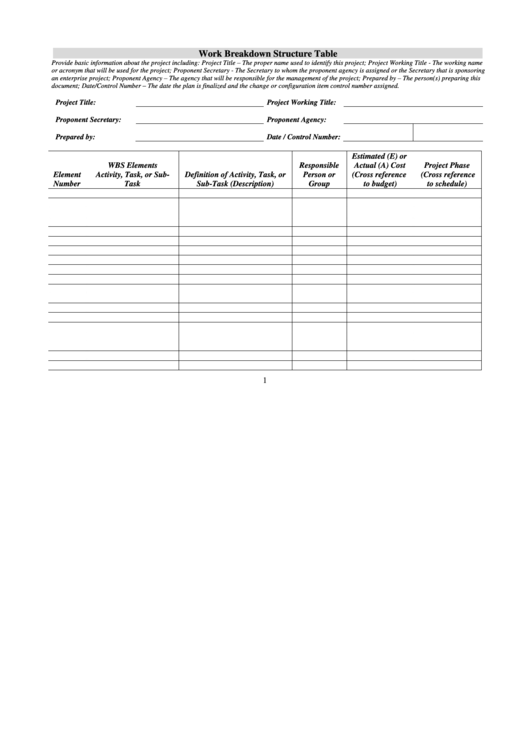 Work Breakdown Structure Table printable pdf download