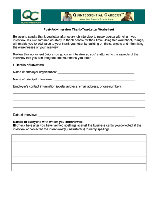 Post-Job-Interview Thank-You-Letter Worksheet Template Printable pdf