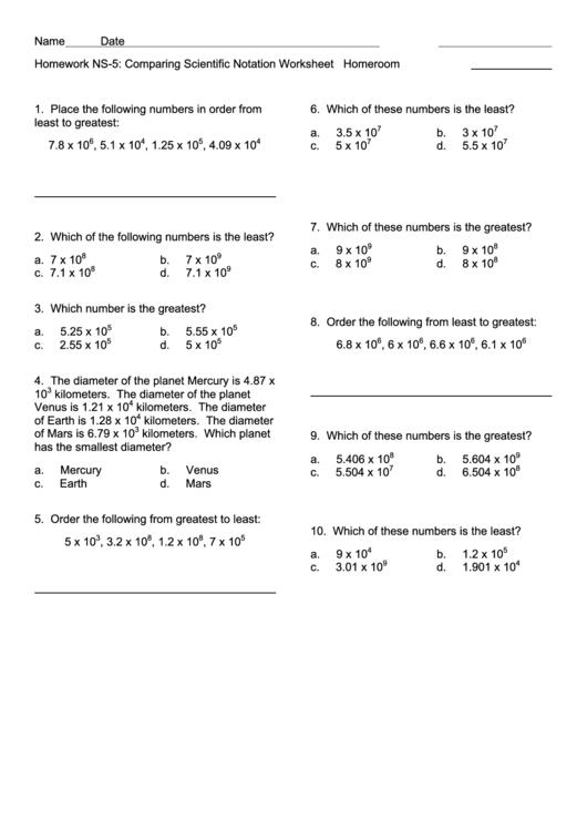 comparing scientific notation worksheet printable pdf download. Black Bedroom Furniture Sets. Home Design Ideas