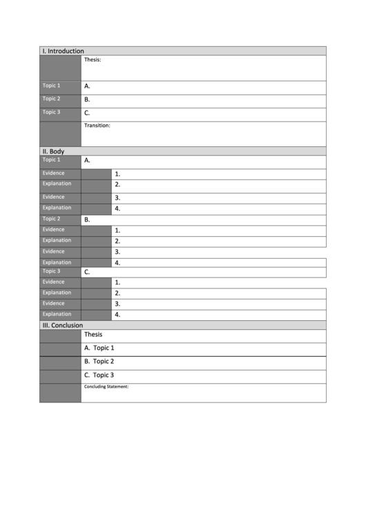 Argumentative Essay Outline Blank Template