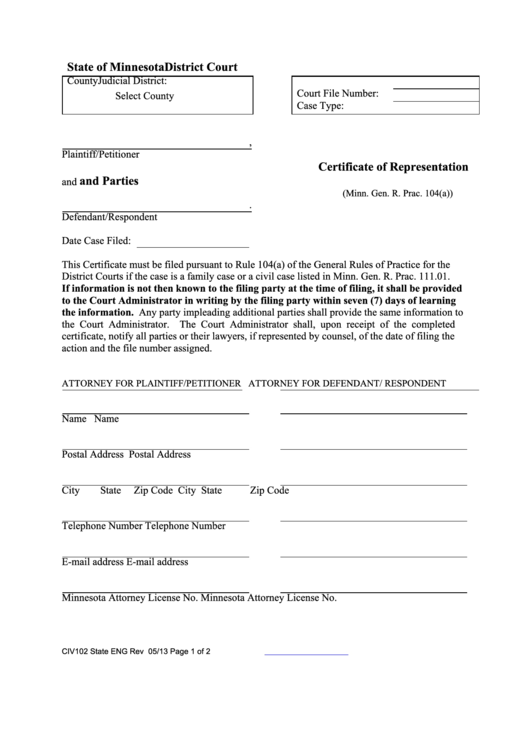 State Of Minnesota District Court - Certificate Of Representation And Parties