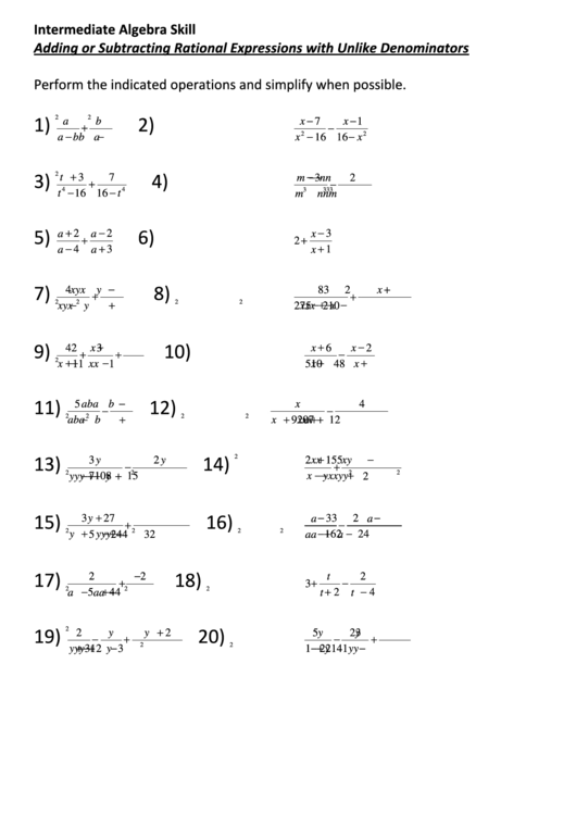 Intermediate Algebra Skill - Adding Or Subtracting Rational Expressions  With Unlike Denominators Printable Pdf Download