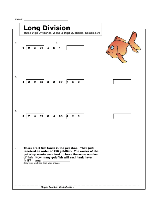 Long Division Worksheet With Answer Key Printable Pdf Download