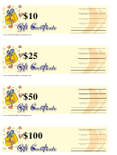 10, 25, 50 & 100 Dollar Gift Certificate Template - Yellow