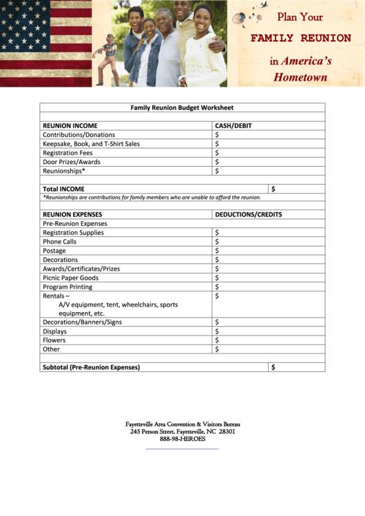 Family Reunion Budget Worksheet Template Printable Pdf Download