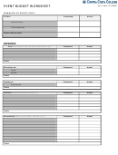 Event Budget Worksheet Template