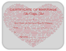 Certificate Of Marriage Template - Heart