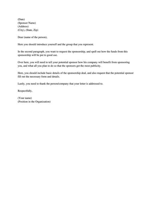 Sponsorship Letter Template Printable pdf