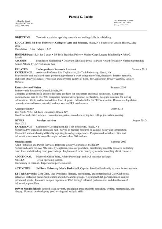 Chronological Resume Example Template Printable pdf