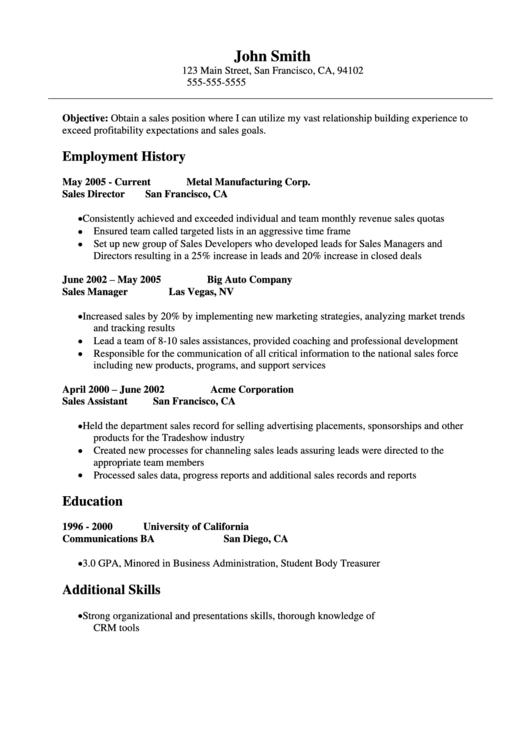 Sample Sales Resume Template