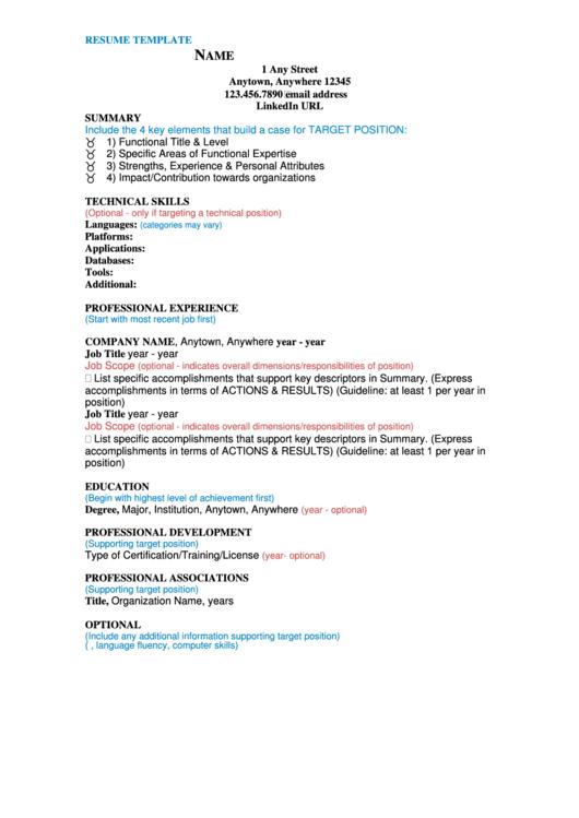 Resume Template Printable Pdf Download