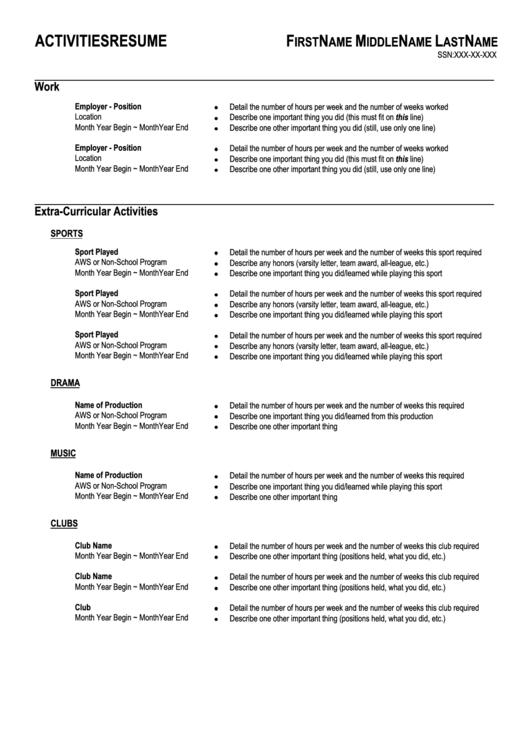 Activities Resume Printable pdf