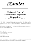 Estimated Costs Of Maintenance, Repair And Remodeling