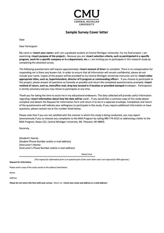 Sample Survey Cover Letter Printable pdf