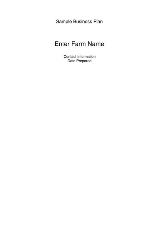 Sample Business Plan Template Printable pdf