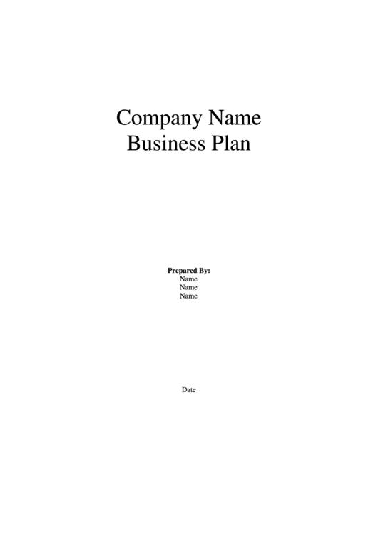 Business Plan Template Printable pdf