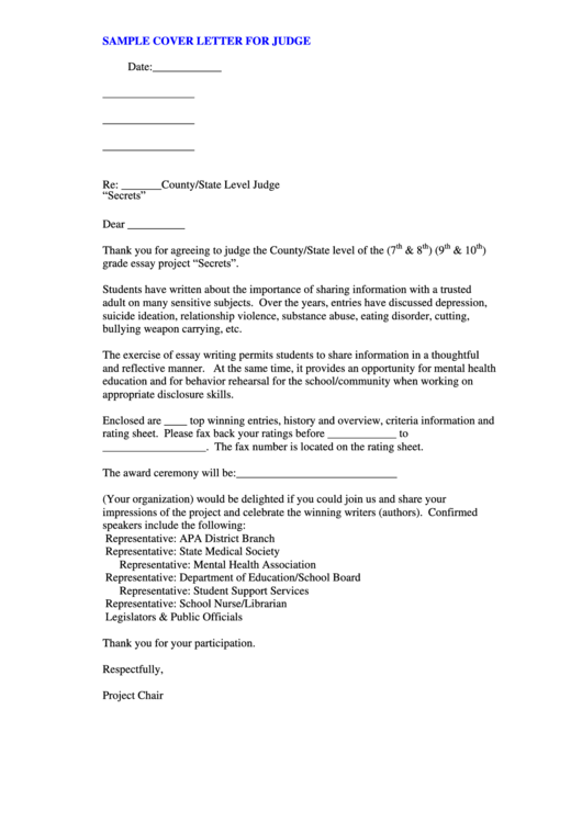 sample cover letter for judge printable pdf download