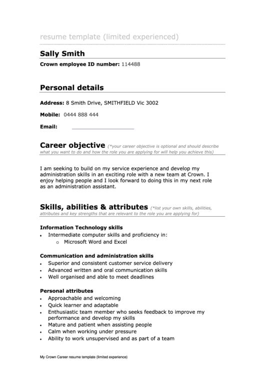 Sample Cover Letter - Limited Work Experience Printable pdf