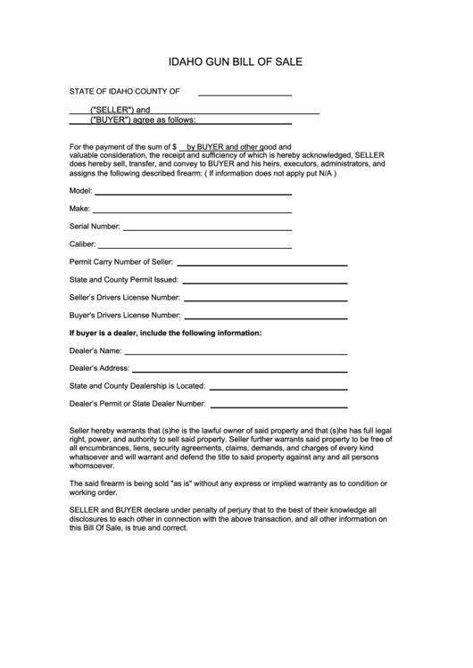 Idaho Gun Bill Of Sale Template Printable Pdf Download