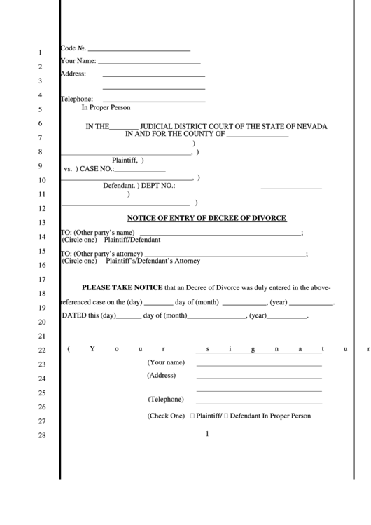 Fillable Notice Of Entry Of Decree Of Divorce Printable pdf