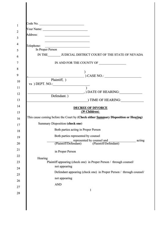 Fillable Decree Of Divorce (No Children) Printable pdf