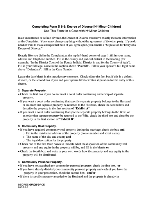 Completing Form D 8-3: Decree Of Divorce (No Minor Children) Printable pdf
