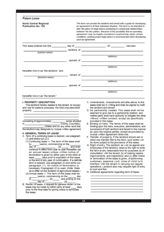 Pature Lease Form