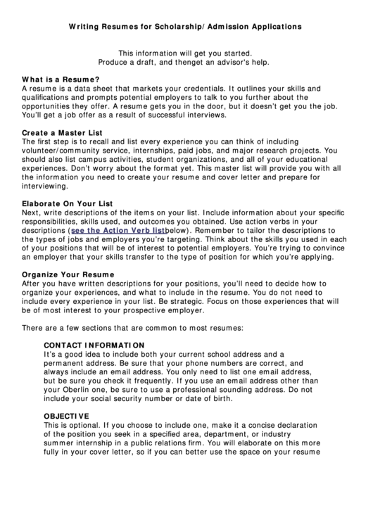 Writing Resumes For Scholarship/admission Applications Printable pdf