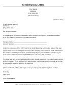 Credit Bureau Letter