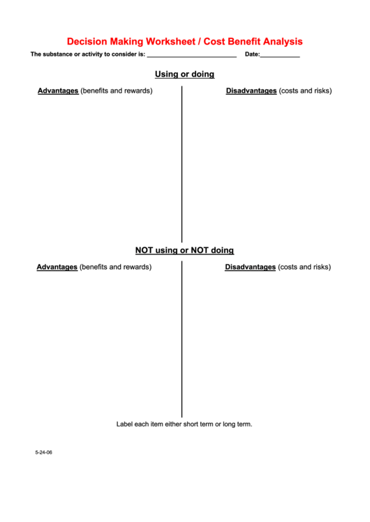 Decision Making Worksheet/cost Benefit Analysis Template