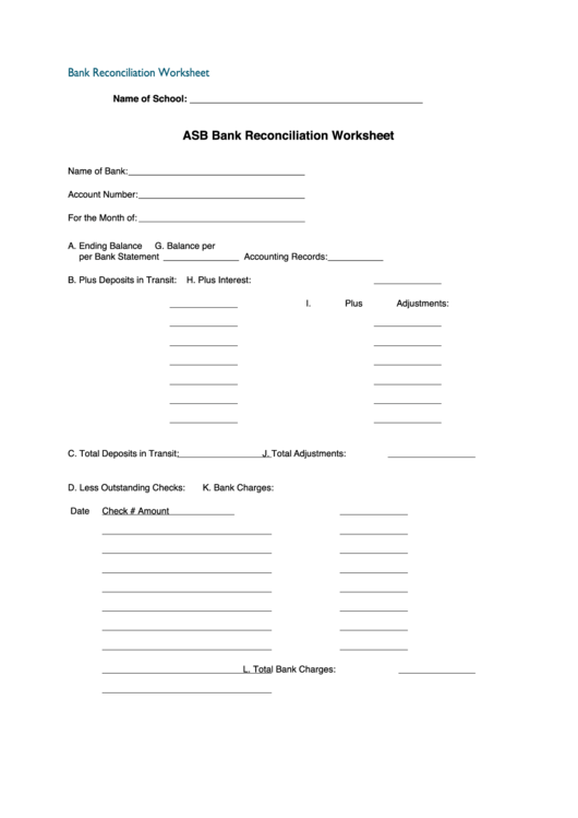 Fillable Asb Bank Reconciliation Worksheet Printable Pdf
