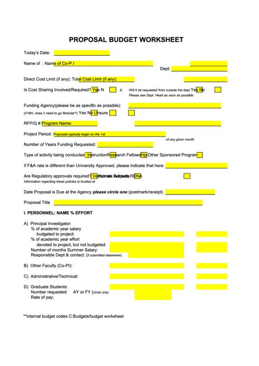 Fillable Proposal Budget Worksheet Template Printable pdf