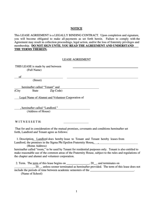 Lease Agreement With Notice Template Printable pdf