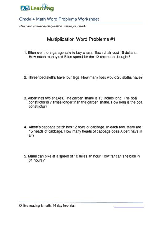 Grade 4 Math Word Problems Worksheet Printable Pdf Download