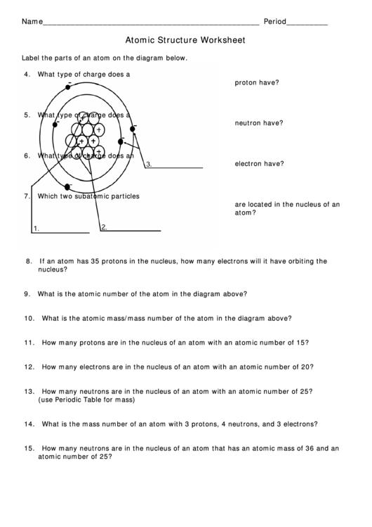 Atomic Structure Worksheet Printable Pdf Download