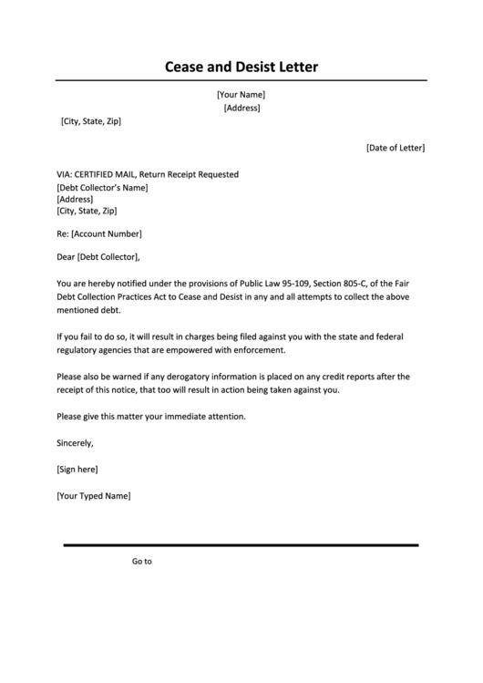 Cease And Desist Letter Printable Pdf Download