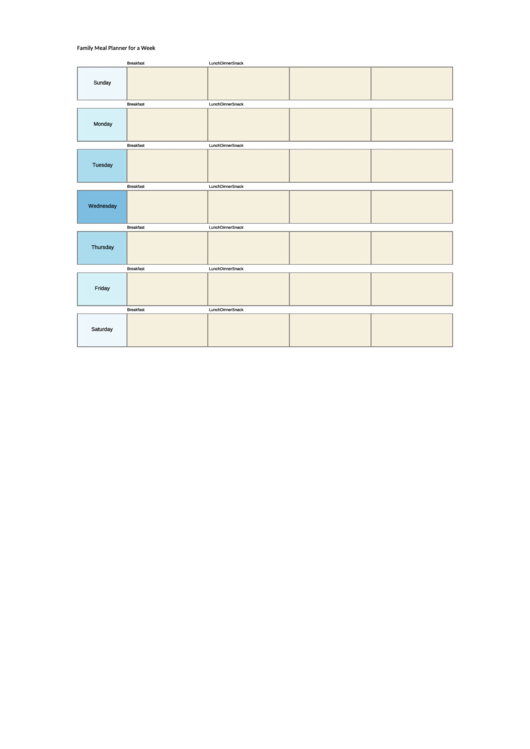 Family Meal Planner For A Week Template - Light Blue